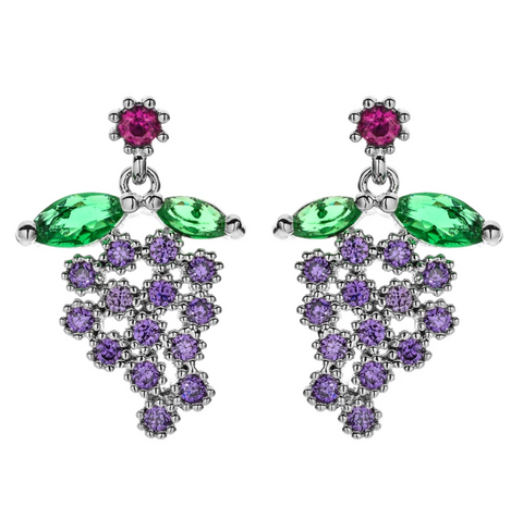 Small grape design platinum finish cz stone earring