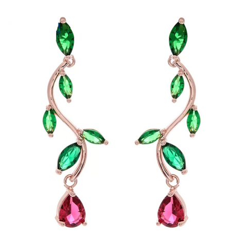 Rose gold plated leaf design cz stone earring
