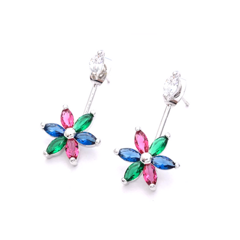 Front n Back style flower design platinum finish cz stone earring