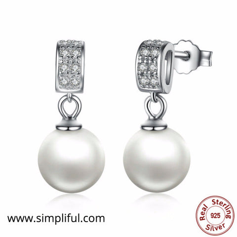 Sterling Silver cute little Simulated Pearl Earring - Simpliful