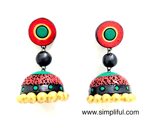Terracotta Etched Jhumka Earring - Design 2