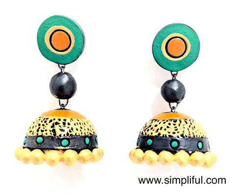 Terracotta Etched Jhumka Earring - Design 2 - Simpliful