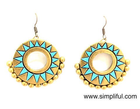 Terracotta Ramleela style hook drop Earring - Design 2 - Simpliful