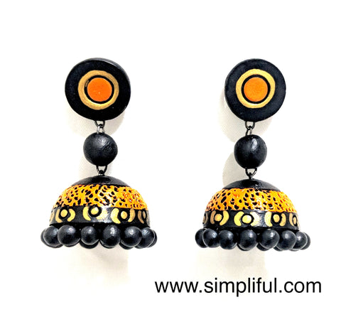 Terracotta Etched Jhumka Earring - Design 1 - Simpliful