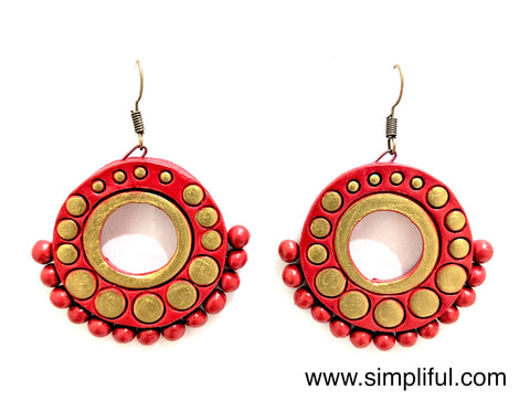 Terracotta Ramleela style hook drop Earring - Design 1 - Simpliful