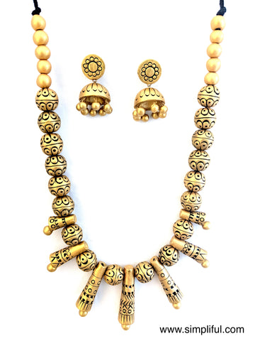 Terracotta Modern Spike Necklace with Jhumka Earring Set - Simpliful