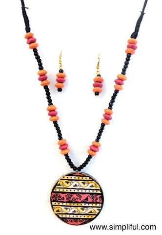 Terracotta Decoupage Pendant Necklace with Earring Set - Simpliful