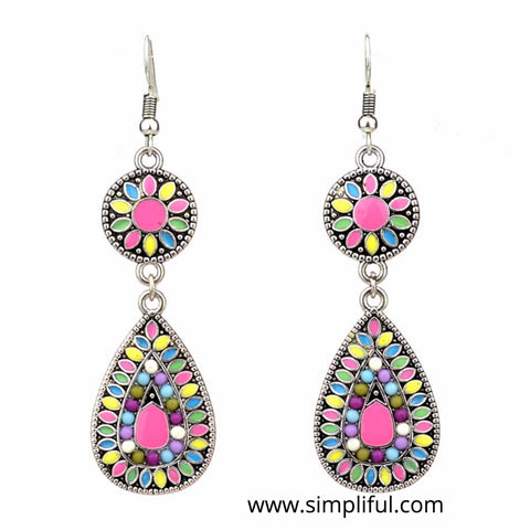 Silver plated multi color Enamel Earring - Simpliful