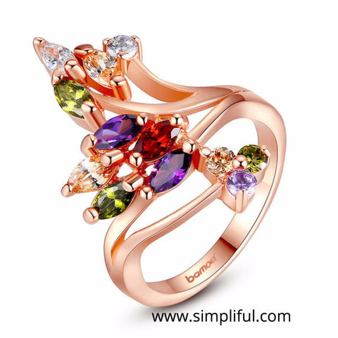 Rose gold plated Multi color CZ Finger ring - Simpliful