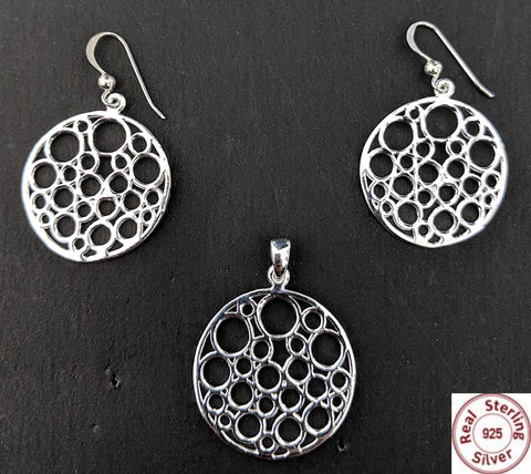 Sterling Silver Pendant and Earring set - Circle of circles - Simpliful