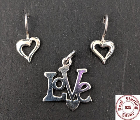 Sterling Silver Pendant and Earring set - Love heart - Simpliful