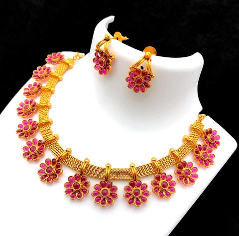 Matte gold finish Kemp stone flower choker necklace and earring set