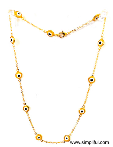 Enamel Eye bright gold plated Necklace - Simpliful