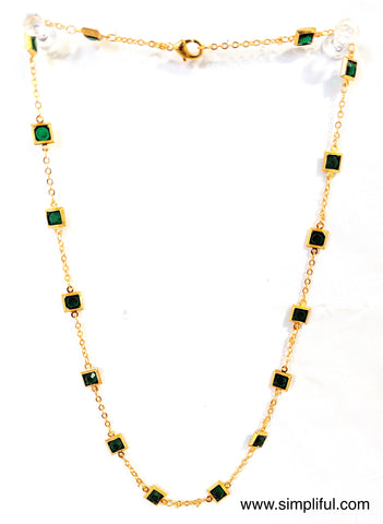 Square glass crystal stone bright gold plated Necklace