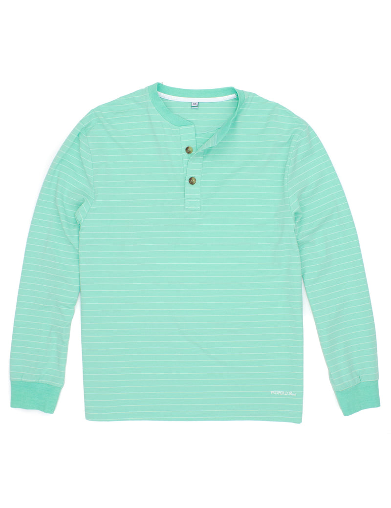 LD Kennon Henley Mint Stripe