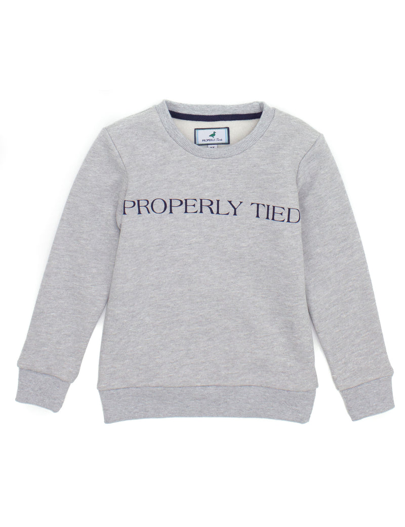 LD Deane Printed Crew Light Heather Grey