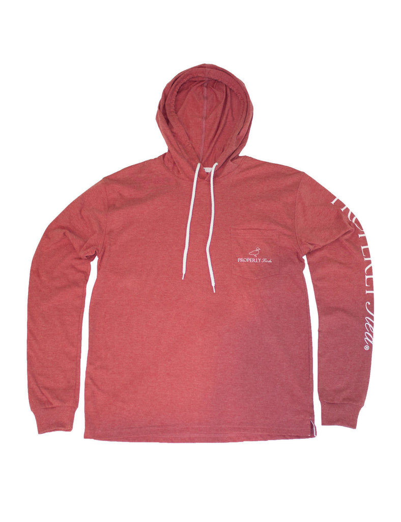 Pima Tee Hoodie Rustic Red Heather