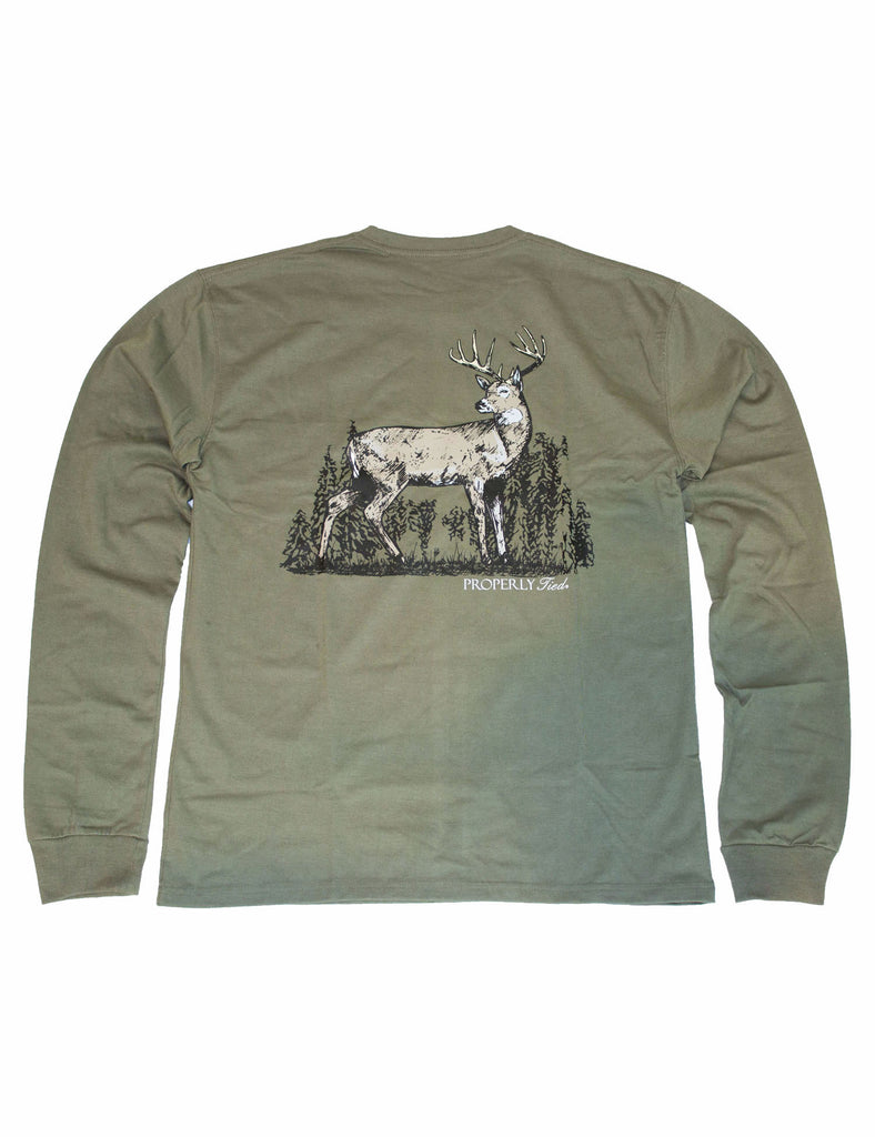 Lil Ducklings Whitetail Long Sleeve Olive