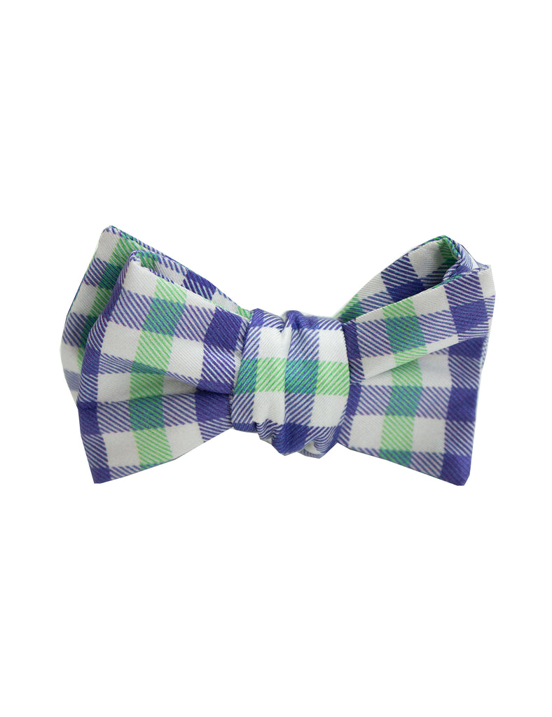 Youth Green Light Blue Gingham Bow