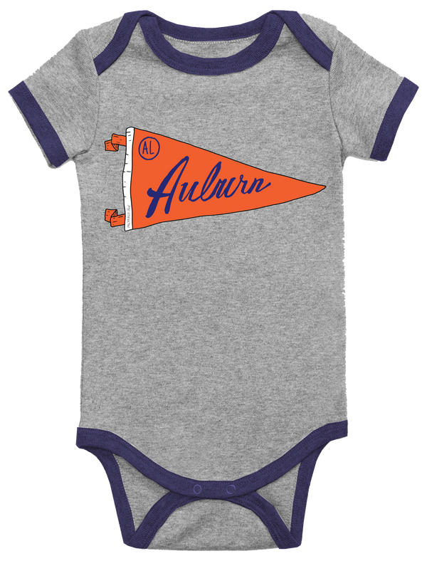 BABY PENNANT ONEPIECE - AUBURN - LIGHT HEATHER GREY - FINAL SALE