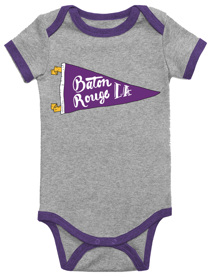 BABY PENNANT ONEPIECE - BATON ROUGE - LIGHT HEATHER GREY - FINAL SALE