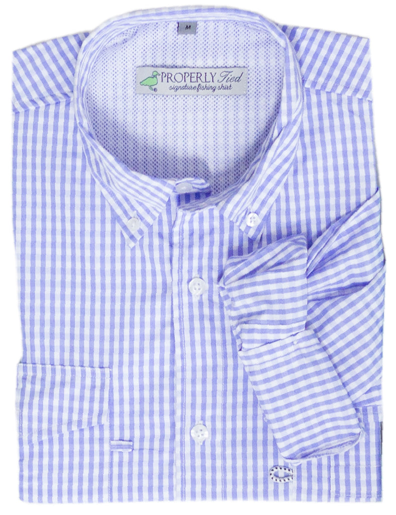 Lil Ducklings Performance Fishing Shirt Light Blue Gingham