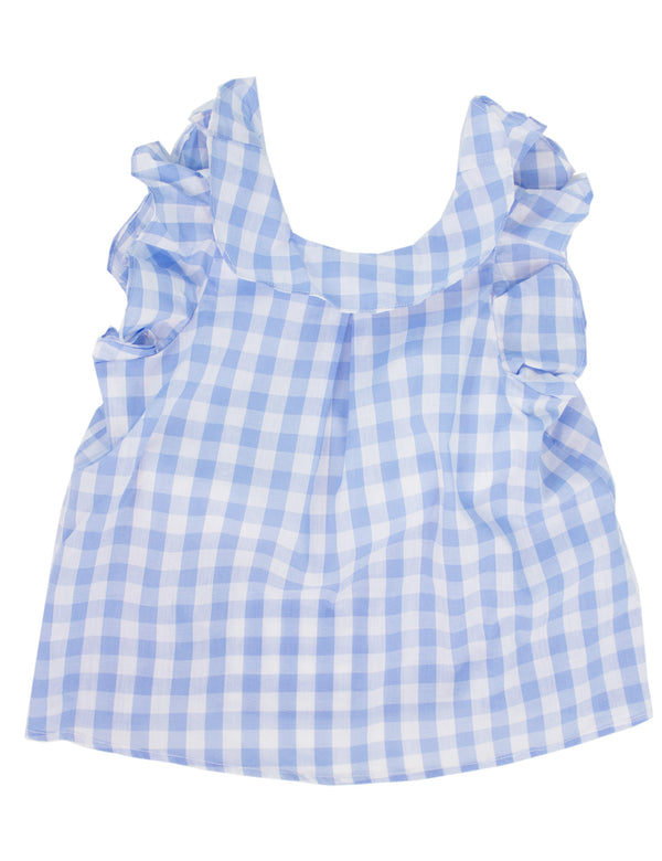 Lil Ducklings Charlotte Ruffle Top Light Blue Gingham