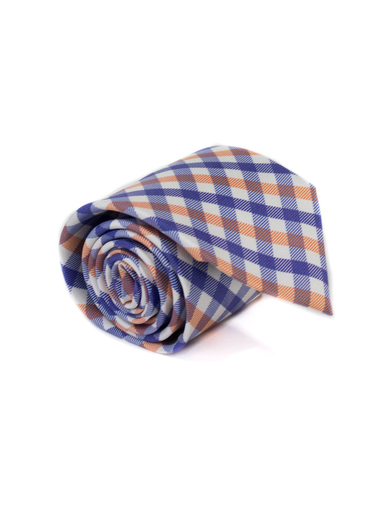 Neck Tie Orange Navy Gingham