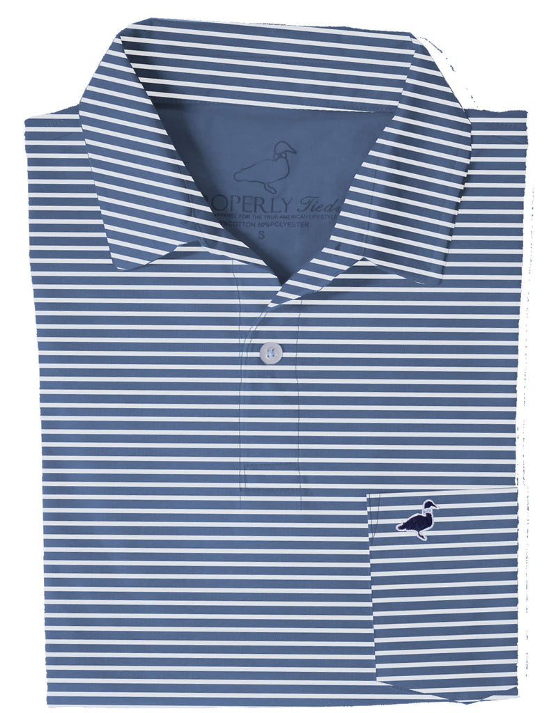 Lil Ducklings Pocket Polo Navy Stripe