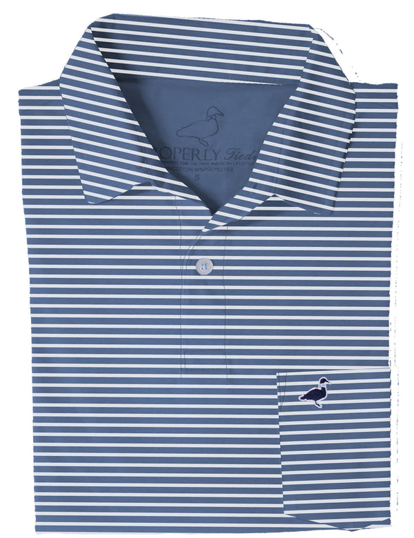 LD Pocket Polo Navy Stripe