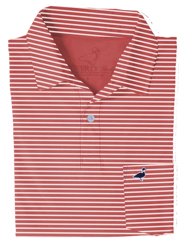 LD Pocket Polo Red Stripe