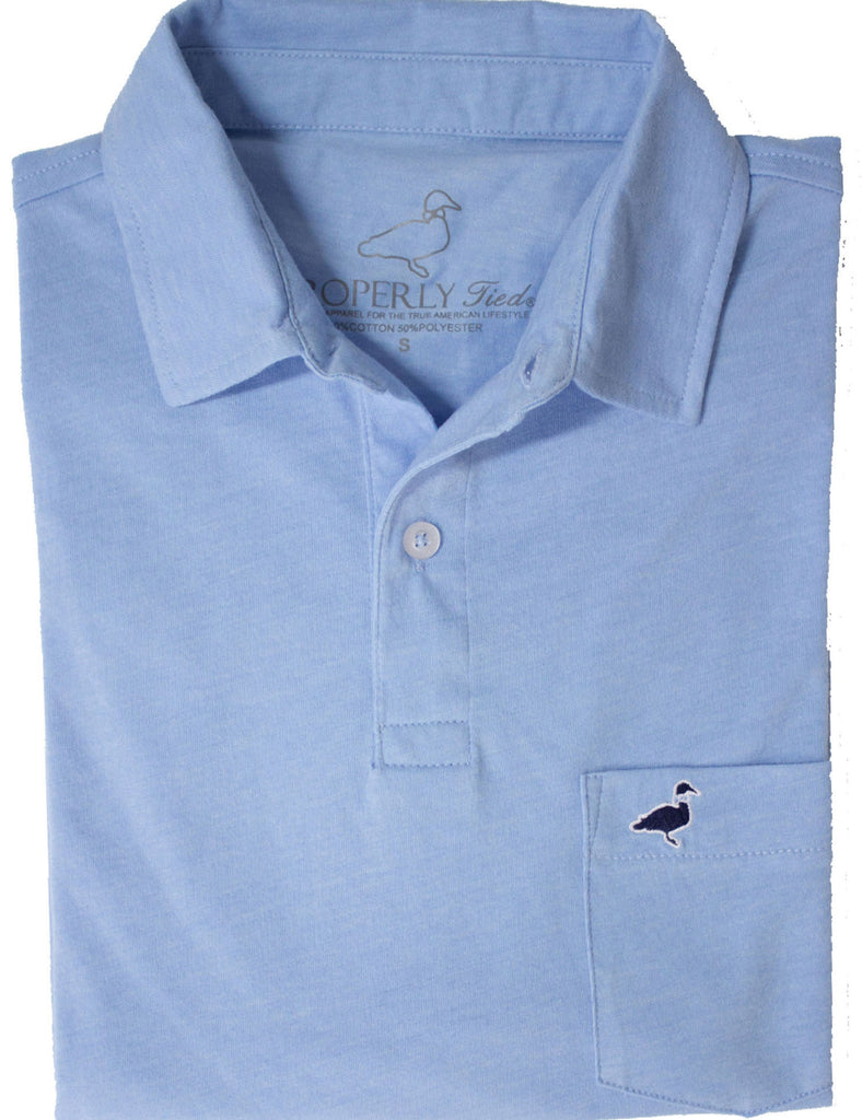 Lil Ducklings Pocket Polo Light Blue