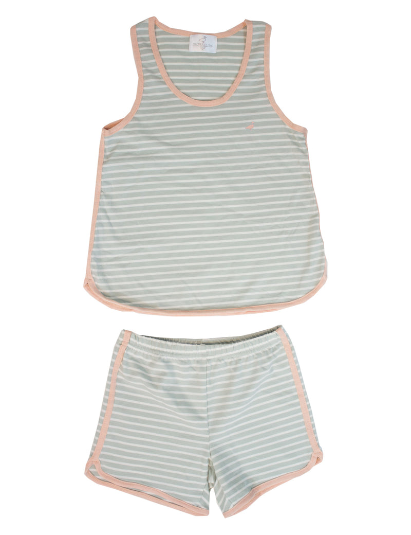 LD Resort Set Sage Green Stripe