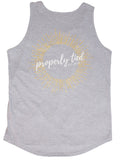 Foil Print Scoop Tank Sunburst Light Heather Grey