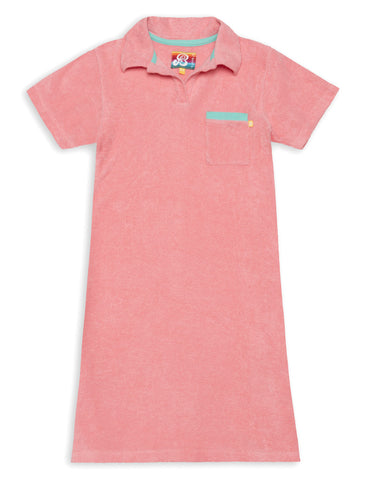 Terry Polo Dress - Flamingo