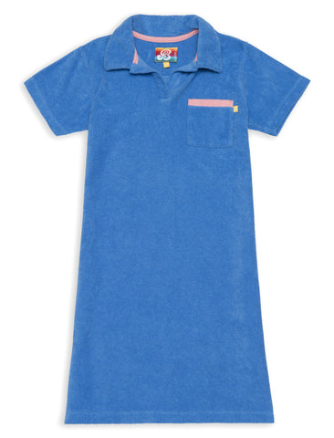Terry Polo Dress - Marina Blue
