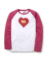 T-Shirt Ski Heart - Very Berry