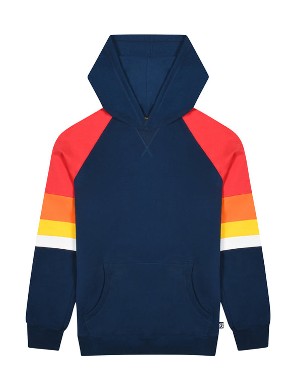 Kids Panel Sleeve Hoodie - Dress Blue/Blaze Red
