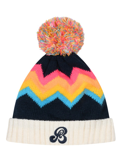 Kids Zigger-Zag Bobble Hat - Blue/Pink