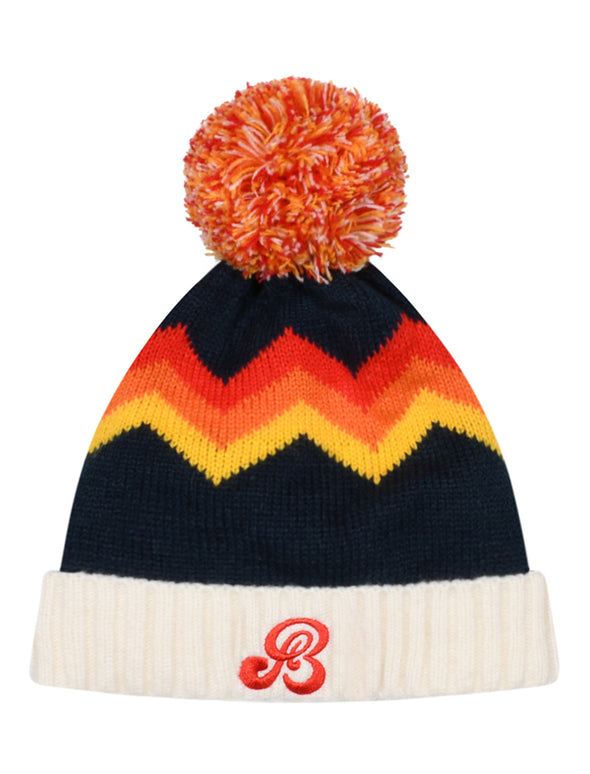 Kids Zigger-Zag Bobble Hat - Blue/Red