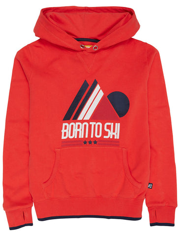 Born to Ski Hoodie - Poppy Red