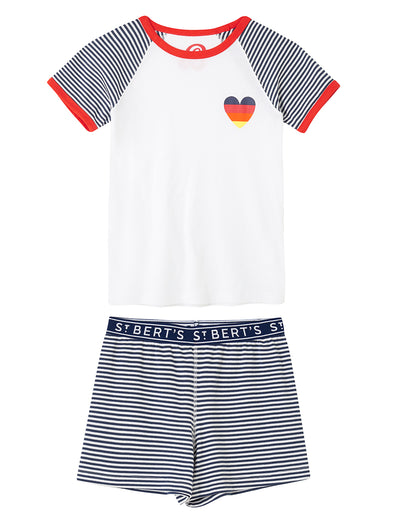 Girls Heart PJs - Dress Blue/Cloud Dancer