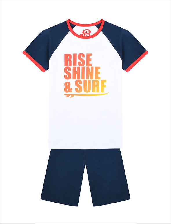 Boys PJs - Rise, Shine & Surf  - Optic White/Dress Blue