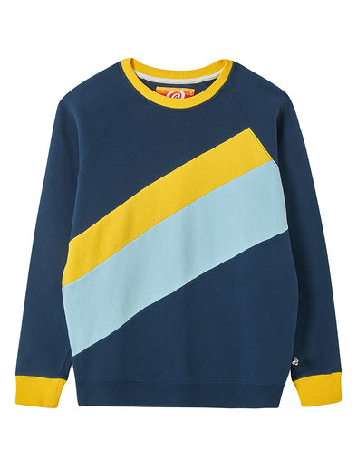 Double Stripe Sweatshirt - Blue/Yellow/Light Blue