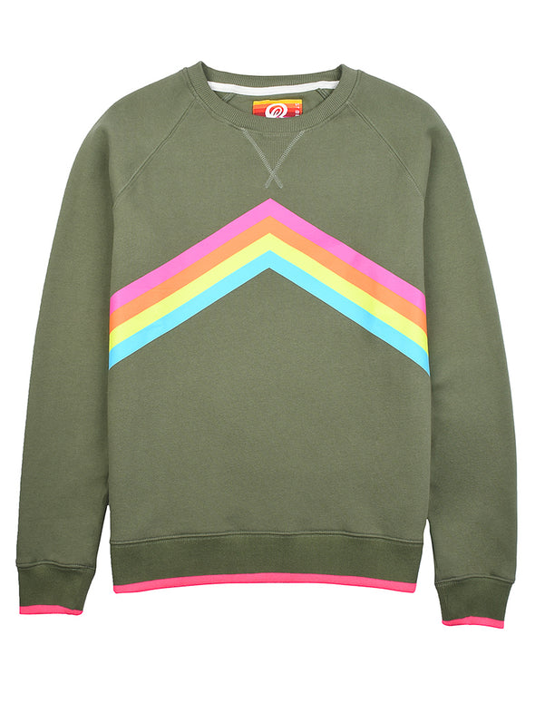 Women's Rainbow Sweatshirt - Khaki Green