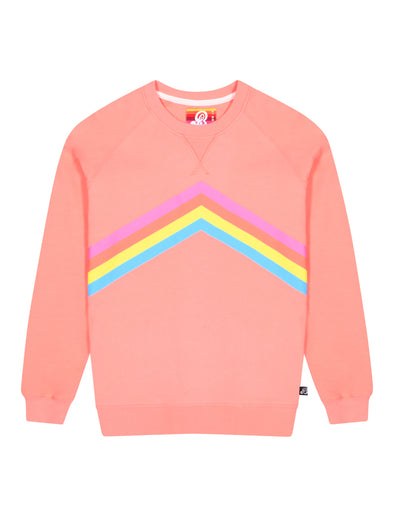 Women's Rainbow Sweatshirt - Fuzzy Peach