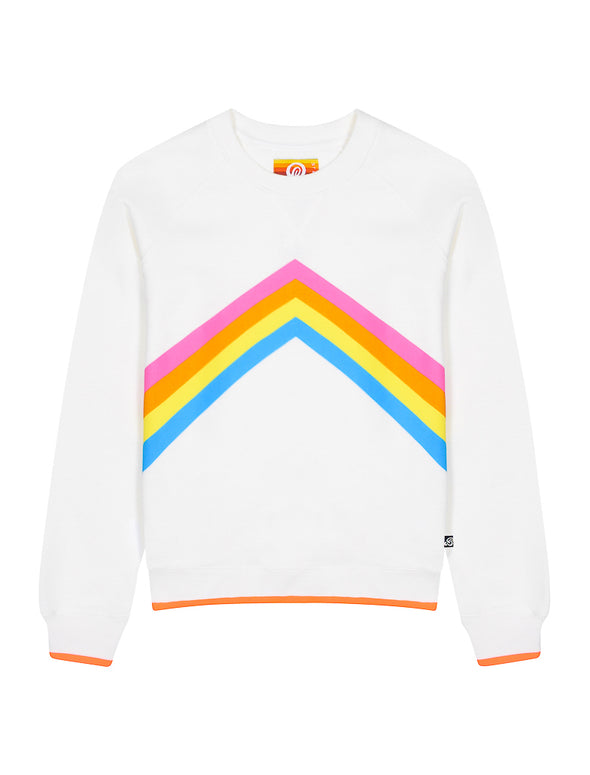 Womens Rainbow Sweatshirt - Cloud Dancer
