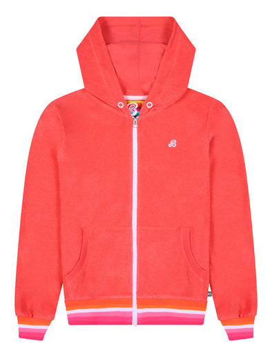 Zip-Up Terry Hoodie - Coral