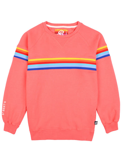 Kids Chest Stripe Sweatshirt - Coral Pink