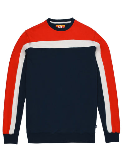 Men's Panel Sweatshirt - Dress Blue/Poppy Red